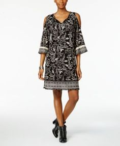 Style & Co Petite Printed Mesh Cold-Shoulder Dress, Only at Macy's