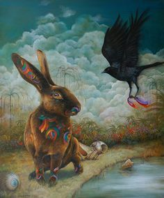 """Distinctly Decorated"" by Wendy Vaughan. ""My artwork depicts animals in a somewhat parallel existence to our own...with their own stories to tell."""