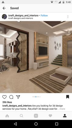 58 Ideas Home Studio Design Room Dividers For 2019 Apartment Interior, Living Room Interior, Home Interior Design, Living Room Decor, Living Room Partition Design, Room Partition Designs, Partition Walls, Door Design, House Design
