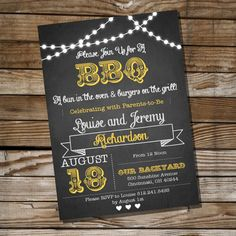 INSTANT DOWNLOAD!! OPEN WITH LATEST VERSION OF ADOBE READER!! PRINT AT HOME!!    This listing is for the digital file of the CHALKBOARD BBQ BABY