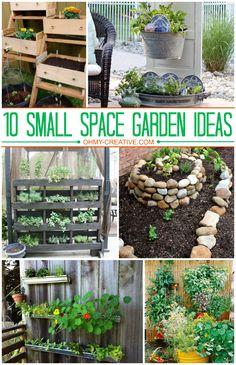 10 Small Space Garden Ideas  |  OhMy-Creative.com #Gardening