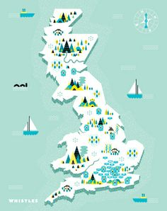Illustrated map and icons for UK fashion brand Whistles, by Andrew Groves