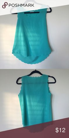 Blue Scalloped Top Adorable scalloped edge tank, looks great with white jeans or with a sweater! Tops Tank Tops