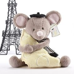 Paris Theme - Monsieur LeSqueak and Blankie Fantastique - the perfect companion to a Parisian Baby Shower! $35.00