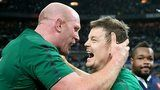 Ireland captain Paul O'Connell embraces Brian O'Driscoll after Ireland clinched the Six Nations title