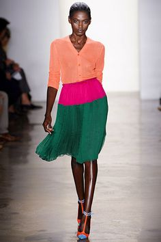 Fantastic color combo (love the green and melon) And I'm dying for those shoes! #Sophie #Theallet #fashionweek