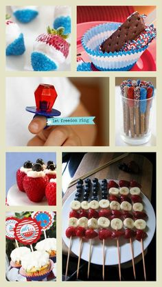 Fourth of july yumminess!~ LOVE the fruit kabobs, a nice healthy alternative to five different desserts packed with sugar and fat! :]