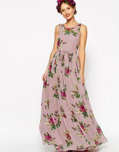 af836f2bc1 ASOS WEDDING Lilac Floral Super Full Maxi Dress UK 10 EU 38 US 6