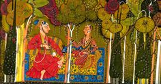 """""""A Nobleman and His Devoted Wife Seated in the Forest; Two Female Musicians Attend""""(detail). Folio probably from an unidentified Nayakanayika (heroheroine) series,     Opaque watercolor, gold, and applied beetlewing cases on paper, attributed to India, Basholi, Punjab Hills, ca. 1685"""