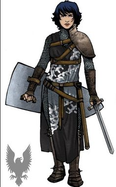 Sword, Chainmail Armor, and Shield. Fantasy Character Design, Character Design Inspiration, Character Art, Character Ideas, Fantasy Inspiration, Story Inspiration, Character Concept, Dnd Characters, Fantasy Characters