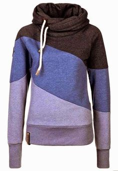 That+Stylish+Girl+:+Tri+Color+Naketano+Neck+Layer+Hoodie