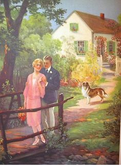 I believe this is an illustration from an American vintage magazine. I don't know anything about the particulars. I just love the romance and sentiment of this picture...so very, very me!