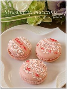 beautiful Strawberry Macarons