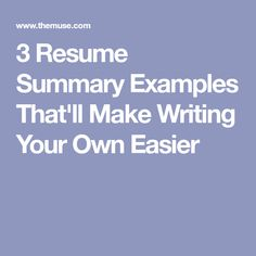 How To Write A Summary For A Resume How To Write A Resume Summary 21 Best Examples You Will See  4 Me .