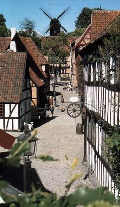 """Old Town, Aarhus - The town itself is the main attraction with most buildings open for visitors; rooms are either decorated in the original historical style or organized into larger exhibits of which there are 5 regular with varying themes. There are several groceries, diners and workshops spread throughout the town with museum staff working in the roles of town figures i.e. merchant, blacksmith etc. adding to the illusion of a """"living"""" town. DENMARK"""