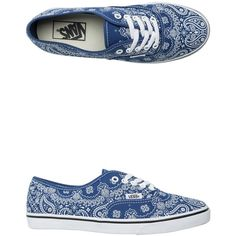 Vans Bandana Authentic Lo Pro Shoe ($50) ❤ liked on Polyvore featuring shoes, sneakers, blue, vans footwear, vans trainers, vans shoes, waffle shoes and blue sneakers