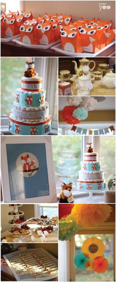Orange, teal and yellow fox tea party baby shower: with custom cut paper foxes, diaper cake and fox favor bags.