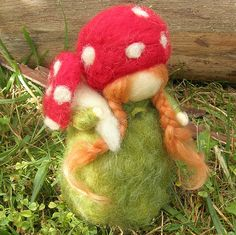 Needle felted forest girl with toadstool 1 by Nushkie Design