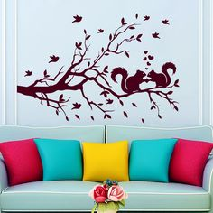 Wall Decal Tree Squirrel On Branch Heart Love  Nursery Room Vinyl Sticker MR730 #Stickalz