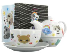Check out this adorable Kawaii tea set by Cloud 9. It features cute bears, dogs, rainbows, clouds and much more. Even the box that contains the tea set is adorable!