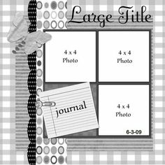 scrapbook layout - one page, three photos plus journaling space. Journaling attached at an angle - cute. Scrapbook Layout Sketches, Scrapbook Templates, Scrapbook Designs, Card Sketches, Scrapbook Paper Crafts, Scrapbooking Layouts, Scrapbook Cards, Digital Scrapbooking, Sketch 2