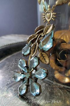 AQUA BLOSSOM  vintage assemblage necklace with by TheFrenchCircus