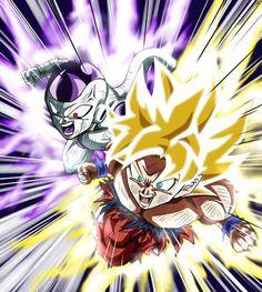 Dragon ball super goku and frieza Poster Marvel, Posters Batman, Mega Anime, Super Anime, Dragon Ball Gt, Goku Y Freezer, Fan Art, Z Warriors, Character Illustration