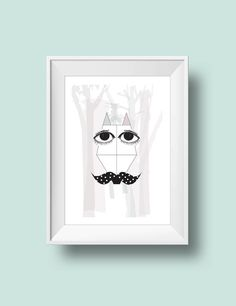 Fox with moustache in the woods Art print Poster by RooftopCo Geometric Wall, Print Poster, Moustache, Wood Art, Woods, Objects, Fox, Wall Decor, Posters
