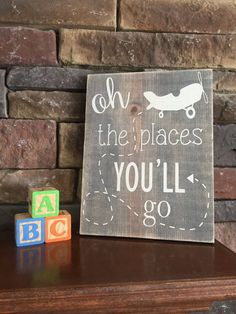 Oh the places you'll go sign, airplane nursery, baby shower gift, plane sign, dr. Suess nursery, air Boys Airplane Bedroom, Airplane Nursery, Baby Boy Shower, Baby Shower Gifts, Grey Stain, New Sign, Nursery Room, Paint Designs, Color Combos