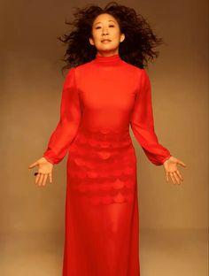 Sandra Oh, Greys Anatomy, Ellen Pompeo, High Neck Dress, Eve, People, Dresses, Fashion, Turtleneck Dress