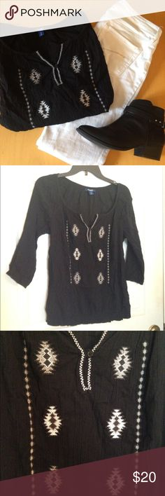 Black Embroidered Peasant Top | OFFERS WELCOME✌🏼 This is a black boho peasant top from Old Navy with beautiful grey and white embroidery in a geometric pattern.  It has 3/4 length sleeves and an elastic bottom. 100% cotton and very light and breezy. Only worn twice & still in perfect condition.  MAKE ME AN OFFER ✌🏼️✨ Old Navy Tops Blouses