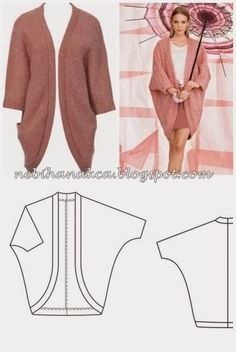 Fold and seam cardigan inspiration crochet knitEsprit - Grobstrick-Cardigan o. -Jacke im Online Shop kaufenThis post was discovered by KaOne Piece Fold and Seam Knitting Patterns a diagram for all those lovely shrugs I'm seeing! Kimono Sewing Pattern, Dress Sewing Patterns, Clothing Patterns, Fashion Sewing, Teen Fashion, Fashion Outfits, Sewing Clothes, Diy Clothes, Make Your Own Clothes