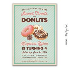 Vintage Donut Party Invitation - Sweet Treats and Donut Party - Customizable Printable Invitation