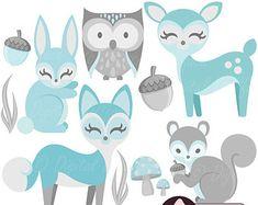 Nursery Animals Clip Art, Clipart Boys Invitations and Decor, Blue and Grey