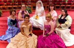 Disney Princesses - Tangled-Inspired Wedding With Disney Princess Bridesmaids - In attendance (clockwise from the top): Rapunzel, Ariel, Mulan, Jasmine, Belle, Aurora, and Megara.