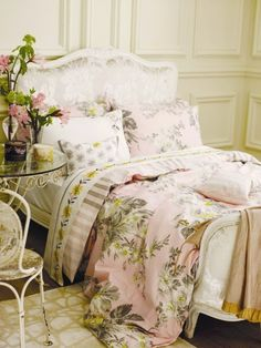 Here's pink flowered linens for a guest room................