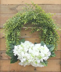 Hydrangea Wreath ~ Front Door Wreath ~ Spring Wreath ~ Summer Wreath ~ White Hydrangea Wreath    Making wreaths is a pure joy for me! I am so glad