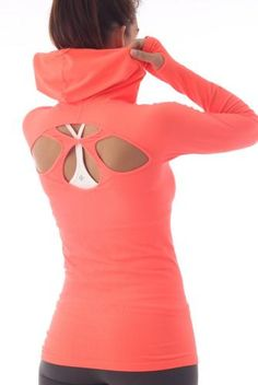 NUX Selene Hoodie in Electric Orange. Yoga. Workout.