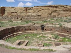 Chaco Culture National Historical Park - New Mexico - A phenomenal assembly of pueblos in New Mexico is the most complete example of ancient ruins north of the border.  Most of the houses facing South are well constructed, many-roomed structures which seem to be carefully aligned. Pueblo Bonito sits directly on the East-West line, an axis that captures the passage of the equinox sun.