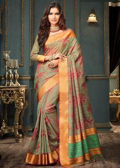 Moss Green Art Silk #Saree