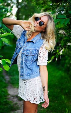 lace dress and denim vest