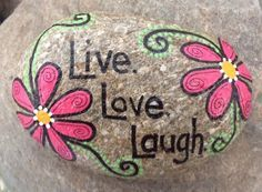 Happy Rock - Live. Love. Laugh. - Hand-Painted River Rock - pink flowers posies…