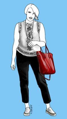 8 Tipps für altersgerechte Kleidung (Teil 2): Meine Blogger-Kollegin Cla zeigt hier ihre nackten Arme, verzichtet dafür auf Dekolleté und auch die Beine bleiben bis zu den Knöcheln bedeckt. Sehr modern: Der Stilbruch aus romantischer Spitzen-Bluse und sportlichen Slip-ons sowie die Tasche in Knallfarbe.