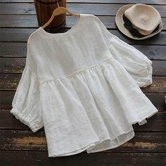Plus Size Summer Blouse Women's Tunic 2019 ZANZEA Vintage Casual Linen Tops Female Lantern Sleeve Blusas Pleated Ruffle Shirts I www. Look Fashion, Fashion Outfits, Womens Fashion, Nike Outfits, Fashion Fall, Casual Outfits, Fashion Trends, Bluse Outfit, Pleated Shirt