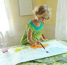 Paint over leaf rubbings for a beautiful watercolor resist effect... See the photos of the finished painting hanging in the window!