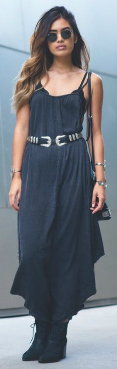 Double buckle belt + great addition + maxi dress outfit. + sophisticated overall style + Jill Wallace.  Dress: Urban Outfitters, Belt: The Lair.