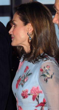 Queen Letizia Bulgari white gold and aquamarine diamond earrings