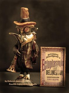 Art Doll Steampunk Ghost Hunter Owl sculpture by Possiblimstudio, $168.00