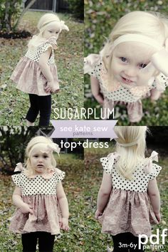 Sugarplum Top & Dress sewing pattern... no zippers, no buttons, just beautiful ribbon ties at the shoulders!  Perfection!