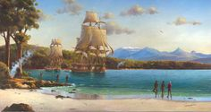 French ships Recherche and L'Esperance at anchor in Recherche Bay, Tasmania, 1791